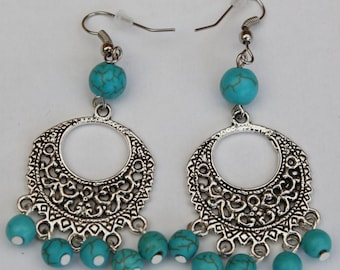 Earrings with turquoise beads fantasy