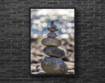 Stones Photography - Balance Photo - Coast Photo - Pebble - Zen Photo - Zen Wall Art - Feng Shui Wall Decor - Beach Wall Decor - Vertical