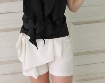 White Wave Shorts | Summer Shorts | Slim Shorts | Tight Shorts | Party Shorts | Beach Shorts | Essential Shorts by Silvia Monetti