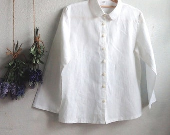 Linen Shirt / Minimalist Long Sleeve Linen Shirt / White Collar Shirt