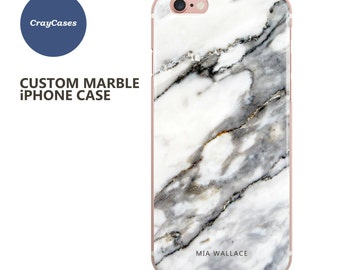 Custom Name iPhone 7 Plus Case, Marble iPhone case, personalised marble iPhone 6s case, 6 Plus, 6, 6s Plus, cell phone cover (Ships From UK)