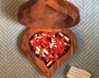 Beautiful wooden box with 'reasons I love you' inside