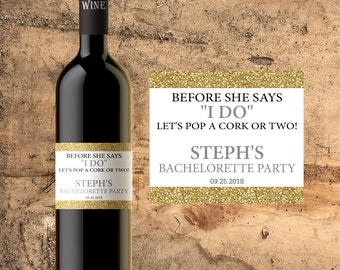 BACHELORETTE PARTY FAVORS Wine Bottle Labels Gifts Invitation Invites
