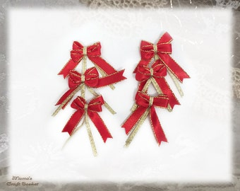 "Red and Gold Metallic Ribbon Bows, 1"" Wide ,Handmade, Glittery, Shimmery, Sparkly, Polyester, Christmas, Wedding"