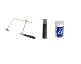 """6"""" German Style Jewelers Saw Frame with 144pc Piercing Blades & 2 oz Cut Lube"""