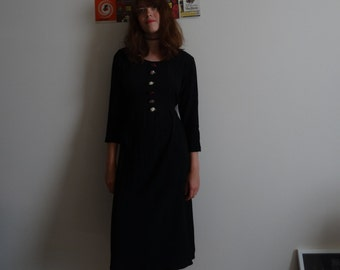 Vintage Black Maxi Dress with Rose Detail