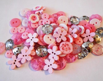 Pink and Silver Button Mix Resin Buttons Wood Buttons Pink Silver Buttons Kids Button Crafts Art Sewing Knitting Crochet Pink Doll Buttons
