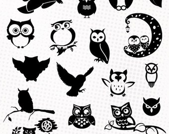 Owls - 20 png/svg/dxf/eps/studio - Silhouettes, vector cutting files, clipart images - Owl picture