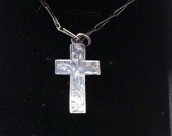 Vintage 1950's Engraved Silver Cross BoutiqueByDanielle