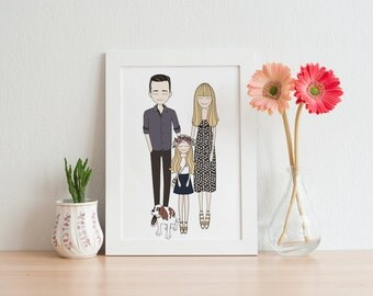 printable wall art, custom portrait, housewarming gift, personalized art, wall art, poster, drawing, family gift
