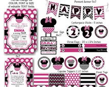 Minnie Mouse Birthday Bundle Set - Instant Download & Editable Files - Personalize with Adobe Reader-Party Supplies-Minnie Mouse Decorations