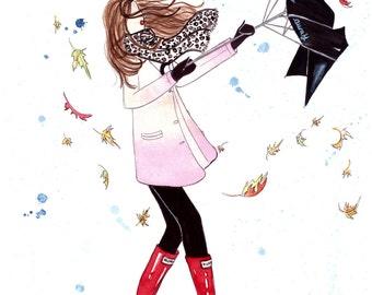 "Rain Rain Go Away - Prints - 8""x10"" - Various Sizes - Wall Art - Umbrella - Rain Art - Fall Inspired"