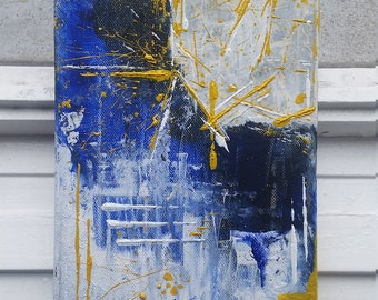 Exploding TARDIS - mural, painting, abstract painting, mixed media, acrylic on canvas, 18 x 24 cm