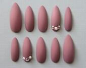 Stiletto Matte Swarovski Nails | Press On Nails | Fake Nails | False Nails | Glue On Nails | Acrylic Nails | Handpainted | Nail Art