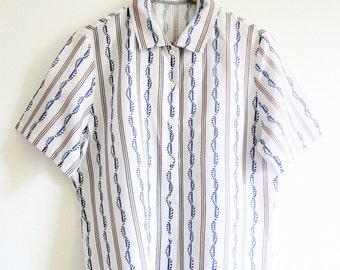Vintage shirt striped 1980s nautical Size 12