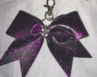 Purple Spider Web Small Key Chain Bow