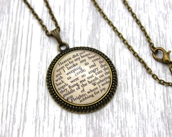 Wuthering Heights, 'Heaven Did Not Seem To Be My Home', Heathcliff, Emily Brontë Quote Necklace or Keychain, Keyring.