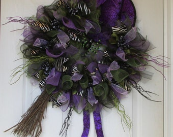Halloween Purple and Green Witch Wreath