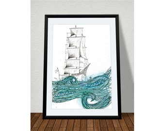 Tall Ship and Patterned Wave A4 Print