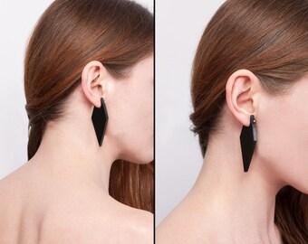 Laser Cut Black Plexiglass Screw Back Earrings Geometric Avantgarde