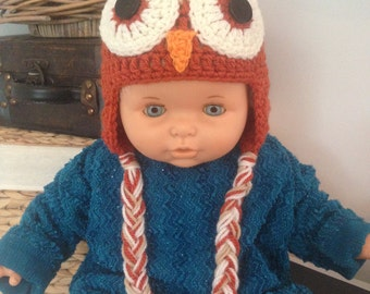 Crochet Baby Owl Earflap Hat - 3-6 Months - Orange