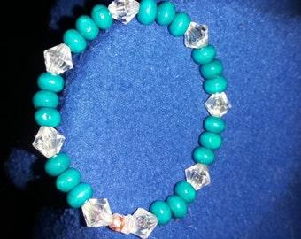 Turquoise wood beads