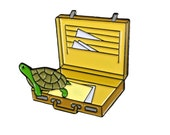 Turtle Climbing out of a Brief Case – Enamel Pin