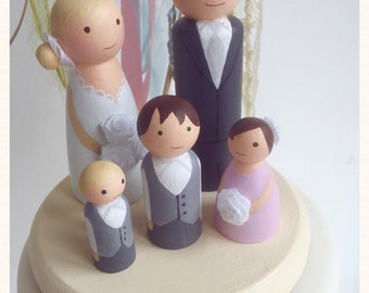 Custom made wooden peg doll wedding cake topper