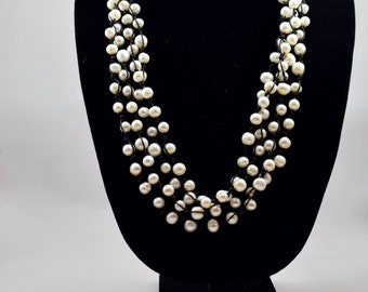 Pearl & Hemp Necklace, 24-27 inches