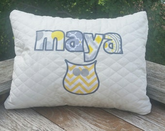 Pillow, Personalized, Fabric, Applique, quilted, baby, kids, gift, birthday, christmas, wedding
