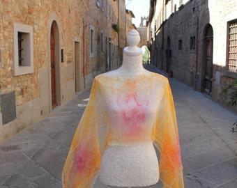 Silk shirt hand painted, hand made Silk Shirt, Silk Blouse, Made in Italy, Orange Shirt, Silk fabric, Handmade, One size Silk Shirt