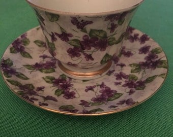 INARCO-vintage-Demitasse-Cup and Saucer Set -violets-flower -E-2202