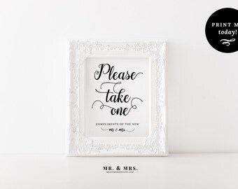 Please Take One Favors Sign, Printable Wedding Sign, Instant Download Favors Reception Sign, Calligraphy, PDF, Wedding Printable, MAM202_06