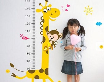 Giraffe Growth Chart Decal - Growth Chart Wall Sticker - Nursery Wall Sticker Decor | PP202