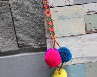Hanging multicolor pompons
