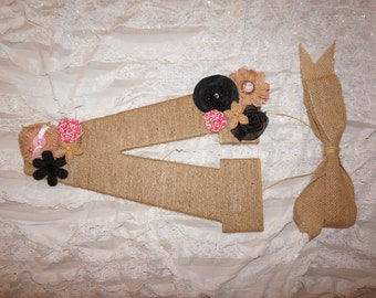 Girls wooden letter wrapped in twine