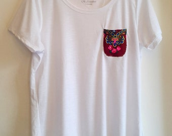 Cotton Tshirts with Upcycled Ukrainian Scarf Pocket Detail