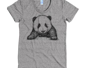 Panda Bear T Shirt - Panda Shirt - Animal Sanctuary Tee - Women's American Apparel T Shirt - Item 1055 - Gray Ink