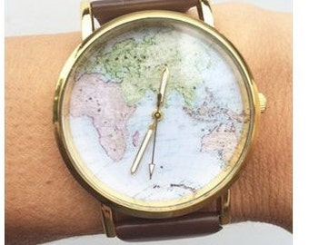 Cute Vintage Style World Map Watch