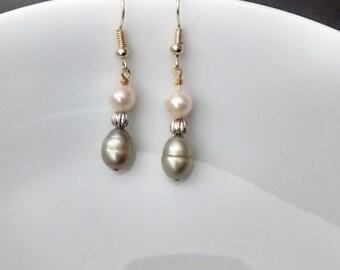 Fresh water pearl dangle earring. Cream and green fresh water pearls and gold small dangle earrings