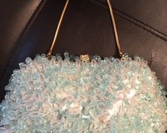 Vintage La Regale Ice Blue Beaded Clutch
