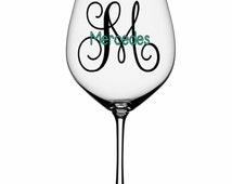 Unique monogram wine glass related items etsy for Do it yourself wine glasses