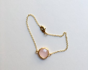 Bracelet gold 14K and pink glass stone filled birthday gift girl gift wife