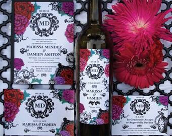 Elegant Floral Wedding Wine Label