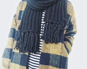 Kojo Scarf, Knit Wool Scarf, Black Scarf, Chunky Knit Scarf, Gifts for Her, Gifts for Him, Winter Scarf