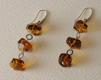 Amber and Silver earrings 925%