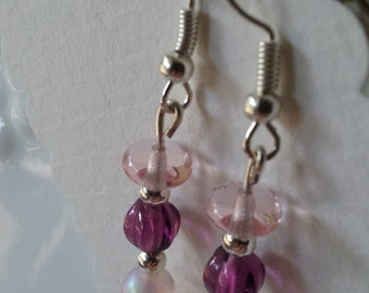 Glass bead earrings. Light Pink, and purple