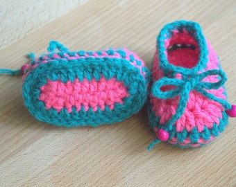 Baby Girl Shoes . Baby petrol, pink booties .  Baby loafer crochet shoes. Baby girl ballerinas . Baby shower gift . New baby gift