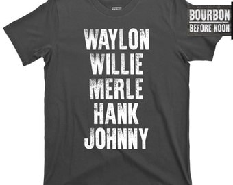 Waylon Jennings Willie Nelson Merle Haggard Hank Williams Jr 3 III Johnny Cash the Man in Black old dogs highwaymen v neck crew T Shirt Tee