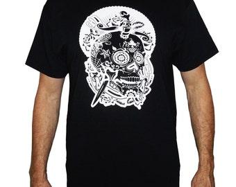 t shirt black Mexican skull screen printing